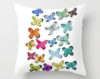 Aqua/Blue Butterfly Pillow, Decorative Pillow, Throw Pillow