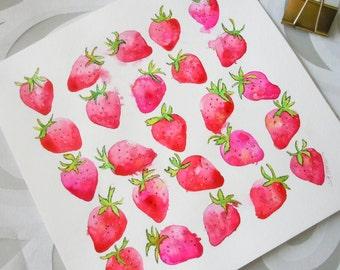 Red Strawberry Original Watercolor Painting-Original Art-Fresas-Wall Art-Wall Decor-Fine Art-Kitchen Art-California Produce Art