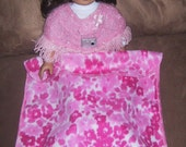 Pink Floral Fleece Doll Blanket for American Girl Doll