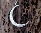 Hammered Crescent Moon Necklace Large Moon Pendant Sterling Silver Moon Necklace artisan feminine jewelry boho charm Christmas gift