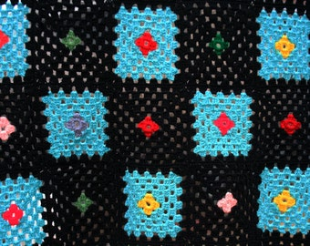 Vintage Granny Square Crocheted Afghan, Black Outline - Turquoise, Modern Colors