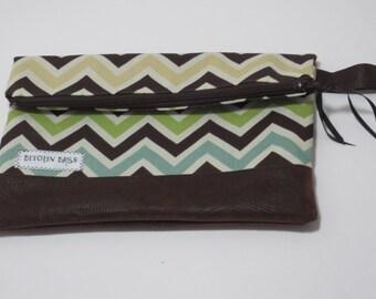 Clutch - Chevron Clutch - Fold Over Clutch - Bitchin Bags - Vegan Leather Clutch - Faux Leather clutch