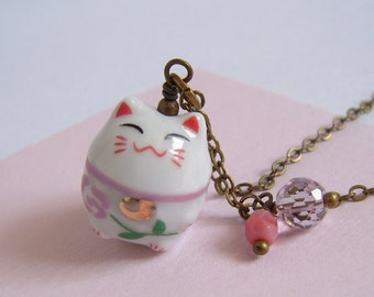 Japanese Lucky Cat Necklace Pink Glass Charm Necklace Antiqued Brass Chain
