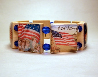 AMERICANA JEWELRY / American Flag / Old Glory / SCRABBLE Bracelet / Upcycled Art / Vintage America / 4th of July