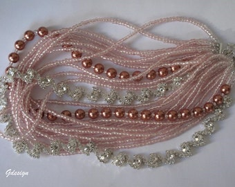 Bridal Pink Glass Pearl, Pink Seed Bead Necklace, Rhinestone accessories. Handmade, Chunky Layered Necklace.