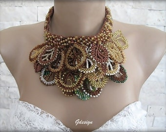 Handmade peyote necklace, colorful seed beads pendant, brown  citrine green, ivory seed beads, authentic necklace, OOAK