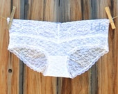 CUSTOM Bridal Panty, Lace White Panties Undie, YOU pick the stone -  Mrs, Bride, I do or Your Name - Size XSMALL - Ships in 24hrs