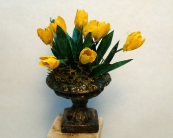 miniature urn yellow tulips