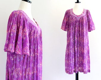 70s India Sheer Cotton Gauze Boho Hippie Caftan Ethnic Festival Gypsy Dress Indian Tent . SML . No.625.11.14.13