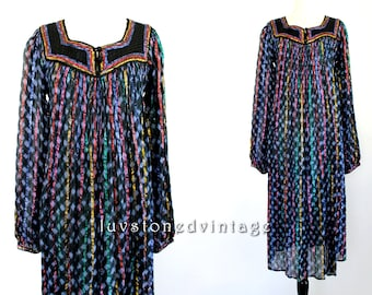 70s Vintage Indian Tie Dye Ethnic Boho Hippie Cotton Gauze Metallic Lurex India Gypsy Festival Maxi Dress . SML . 837.6.6.14