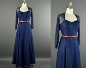 1970s Dress / navy gown / 70s Dress / vintage dresses / mesh sleeves backless