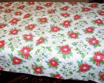 "1970's VIntage Plastic Christmas Tablecloth, Flannel Back, Excellent Condition, 50"" Square, Poinsettias"