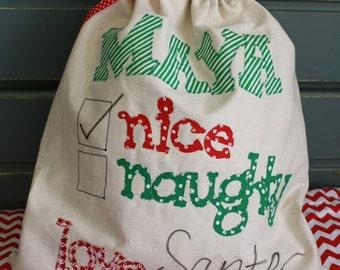 Personalized Santa Sack, Christmas Gifts, Santa Bag, Holiday Sacks, Naughty Nice Santa Bag, Christmas Decorations, Holiday Bags, Canvas Bag