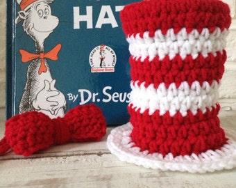 Baby Photo Prop Dr. Seuss Cat In The Hat Crochet Mini Top Hat- Red BowTie -  Newborn - Baby