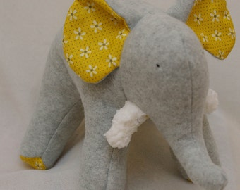Missy Grey - Plush Gray Fleece Elephant with white daisy flowers on her tummy and soft chenille tusks
