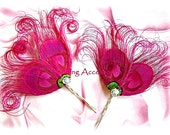 Peacock feathers hair pin, red, turquoise, fuchsia pink or natural feathers bridal or bridesmaids hair accessories.