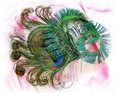 Peacock feather hair comb, bridal hair accessories, peacock weddings fascinator