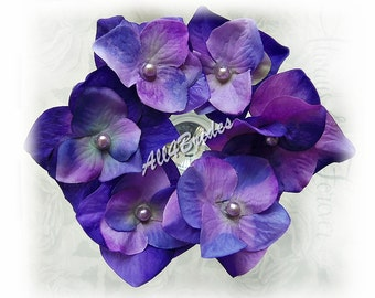 Bridal or Bridesmaids Hair Flower Pins - Purple, Lilac, Lavender, Iris - Silk Hydrangea Hair Pins