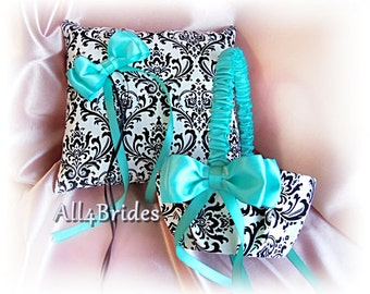 Madison Damask wedding ring bearer pillow and flower girl basket , Aqua Blue and damask weddings ceremony accessories