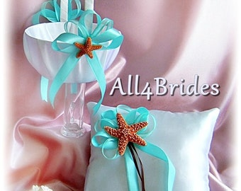 Beach Wedding starfish and aqua wedding pillow and basket | ring bearer pillow and flower girl basket
