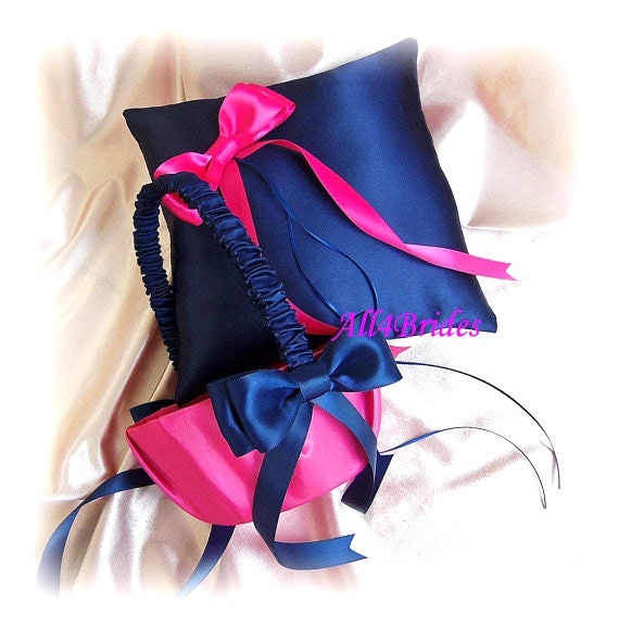 Ring bearer pillow and flower girl basket, navy blue and fuchsia pink weddings ceremony accessories
