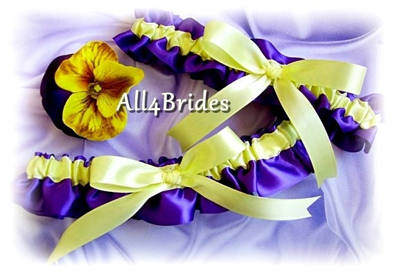 Bridal garters, purple and yellow wedding garters, bridal or prom satin garters