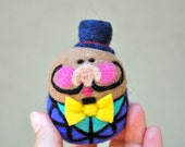 Moustached Jolly Fine Fellow with Top Hat  Needle Felted Egg Doll Ready to Ship