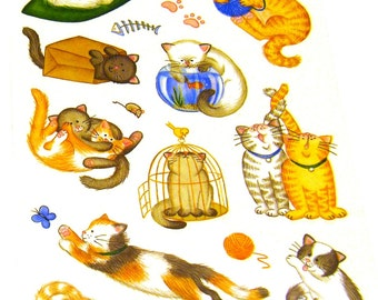 Calico Tabby Cat Kitty Stickers (5.5 x 9 inches / 2 sheets)