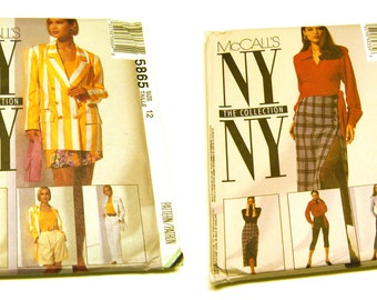 Set of NY NY Collection Sewing Patterns: McCalls 5865 & McCalls 6233 (Jacket Set, Wrap Around Blouse Set) Both Size 12