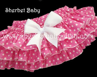 Classic Style Hot Pink Polka Dots Sassy Pants Bloomers Ruffle Diaper Cover