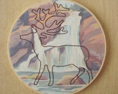Embroidered Deer on Waterfall Paint by Number Fabric Hoop