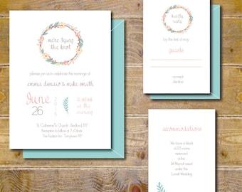 Rustic Wedding Invitations, Vintage Wedding Invites, Country Wedding, Floral Wedding Invitation, Traditional Wedding - Rustic Wreath
