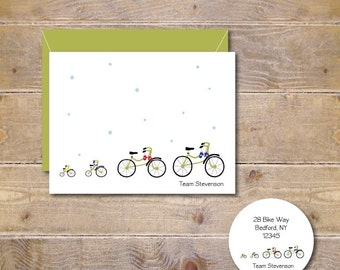 Christmas Cards . Holiday Card Set . Personalized Christmas Cards . Bicycle Chirstmas Cards - Tour De Family Winter Track