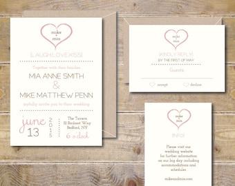 Heart Wedding Invitations, Wedding Invites, Rustic Wedding Invitations, Heart Wedding Invites, Romantic Invitations - You & Me Heart