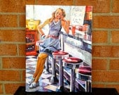 Retro Original Painting Girl In American Diner. vintage figurative Red White Yellow Blue  Canvas Fine Art by  Gwen Meyerson