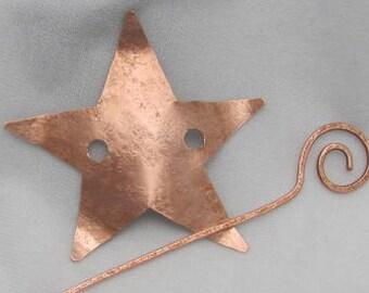 Copper Star Pin, Shawl Closure Pin.
