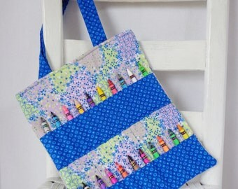 Blue and Purple Floral Crayon Bag Girls Birthday Gift Kids Travel Bag Kid Art Idea Coloring Tote