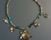 Sea Turtle Necklace with Abalone, Coral, Pearl Shell, Forged Brass OOAK Unique Custom