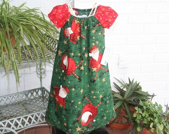 Handmade.Girls Christmas Santa dress.  Three available.  Size 4 ready to ship
