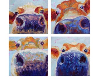 Cow Faces Grouping - Paper - Canvas - Wood Block