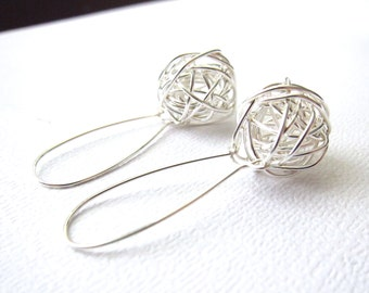 Wire Earrings, Sterling Silver, Silver Earrings, Tangled ball, Wire ball earrings, Wire Wrapped earrings, Handmade by CuteJewels in Chicago