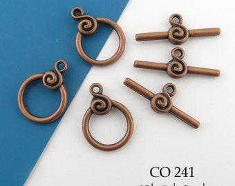 15mm Antique Copper Toggle Clasp Scroll Copper Clasp (CO 241) 3 sets