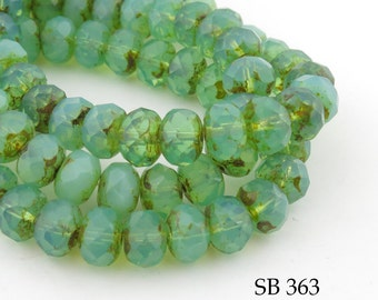 8mm Mint Green Czech Glass Beads, Faceted Rondelle, Morning Mist Green (SB 363) 12 pcs BlueEchoBeads