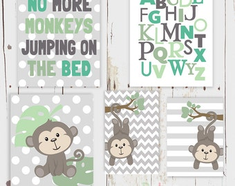 Jumping Monkeys Rhyme Alphabet Nursery Art  Print Set Baby Boy Room Decor