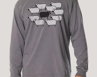 SALE - Black Sheep Long Sleeve T-shirt, Charcoal Grey Men's Cotton t-shirt, Gift for Him, Art T-shirt, Cool t-shirt