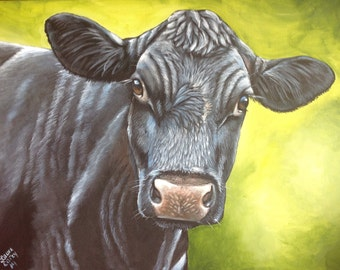 Original Fine Art Angus  Holstein cow calf farm painting by Laura Carey