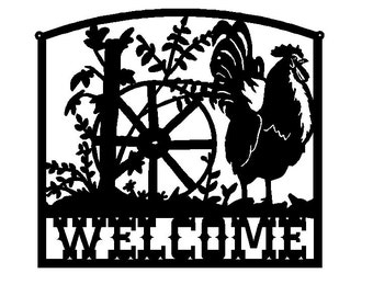 Rooster Welcome Sign (B25)