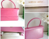 1960's Pink Leather and Silk Handbag Andrew Geller