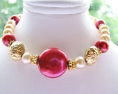 Rosy Red Coin Pearl Bracelet, Champagne Pearl Luxe Bracelet, Fancy Gold Vermeil Floral Bracelet, Handmade GIFT, Ready To Ship