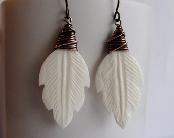 Wire Wrapped Copper and Carved Bone Leaf Earrings